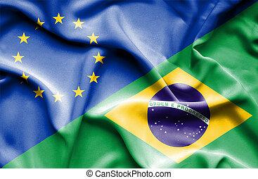 Waving flag of Brazil and EU
