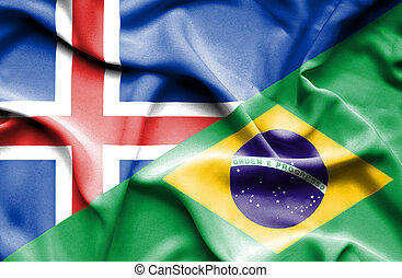 Waving flag of Brazil and Iceland