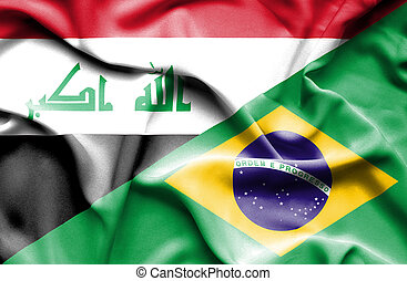 Waving flag of Brazil and Iraq