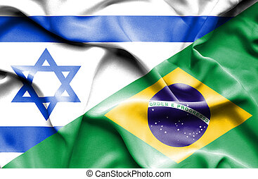 Waving flag of Brazil and Israel