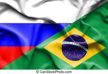Waving flag of Brazil and Russia