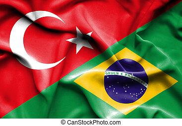 Waving flag of Brazil and Turkey
