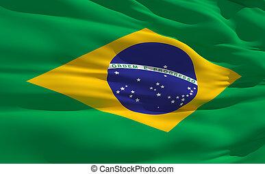 Waving flag of Brazil - Fluttering flag of Brazil on the...