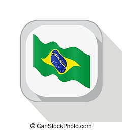 Waving flag of Brazil on the button. Vector illustration.