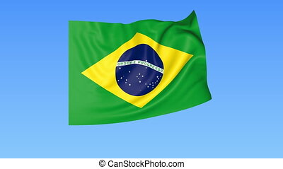 Waving flag of Brazil, seamless loop. Exact size, blue background. Part of all countries set. 4K Pro Res with alpha