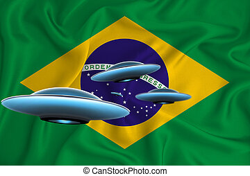 Waving flag of Brazil. UFO group on the background of the flag. UFO news concept in the country. 3D rendering