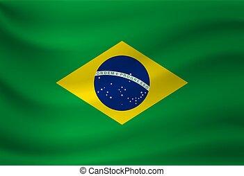 Waving flag of Brazil. Vector illustration