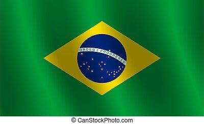 Waving flag of Brazil Vector illustration