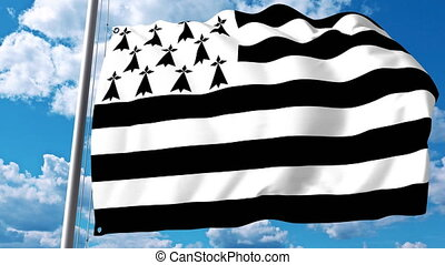 Waving flag of Brittany a region of France - Waving flag of...