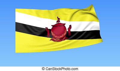 Waving flag of Brunei, seamless loop. Exact size, blue...