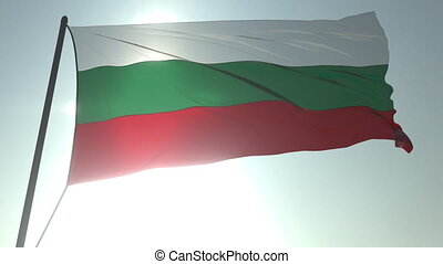 Waving flag of Bulgaria against shining sun and sky. Realistic loopable 3D animation