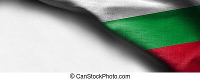 Waving flag of Bulgaria on white background - right top corner flag