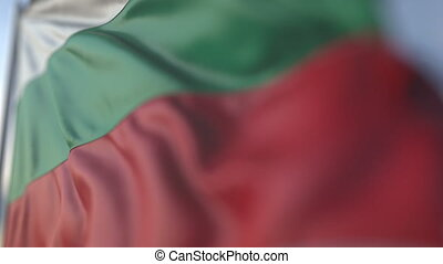Waving flag of Bulgaria, shallow focus close-up. Realistic loopable 3D animation