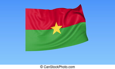 Waving flag of Burkina Faso, seamless loop. Exact size, blue background. Part of all countries set. 4K ProRes, alpha