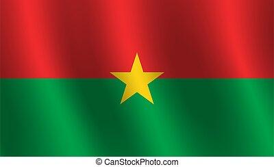 Waving flag of Burkina Faso Vector illustration