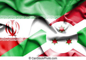 Waving flag of Burundi and Iran