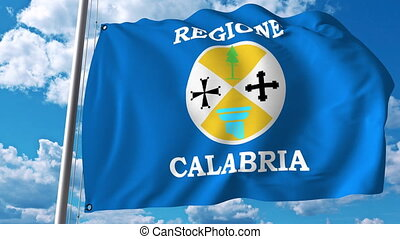 Waving flag of Calabria a region of Italy - Waving flag of...