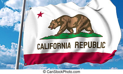 Waving flag of California. 3D rendering