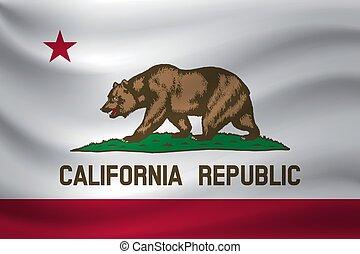 Waving flag of California. Vector illustration