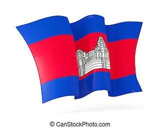 Waving flag of cambodia. 3D illustration