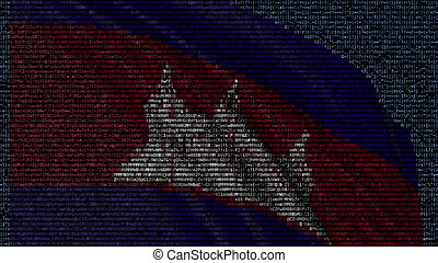 Waving flag of Cambodia made of text symbols on a computer screen. Conceptual 3D rendering