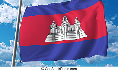 Waving flag of Cambodia on sky background. 3D rendering