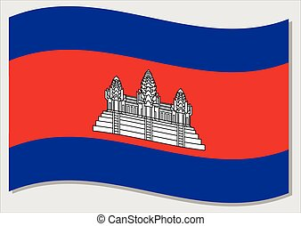 Waving flag of Cambodia vector graphic. Waving Cambodian flag illustration. Cambodia country flag wavin in the wind is a symbol of freedom and independence.