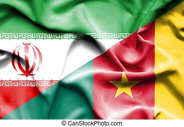 Waving flag of Cameroon and Iran