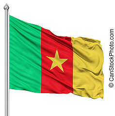 Realistic 3d flag of Cameroon fluttering in the wind.