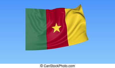 Waving flag of Cameroon, seamless loop. Exact size, blue background. Part of all countries set. 4K ProRes with alpha.