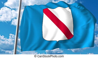 Waving flag of Campania a region of Italy - Waving flag of...