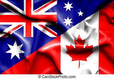 Waving flag of Canada and Australia