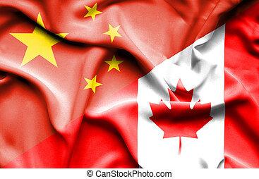 Waving flag of Canada and China
