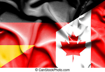 Waving flag of Canada and Germany