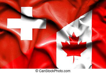 Waving flag of Canada and Switzerland