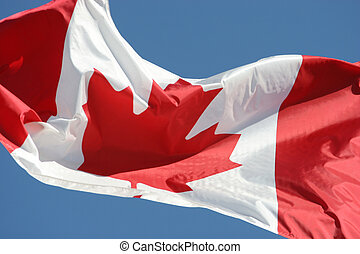 Waving flag of Canada in blue sky background