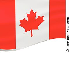 Waving flag of Canada isolated on white