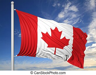 Waving flag of Canada on flagpole, on blue sky background.