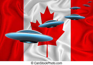 Waving flag of canada. UFO group on the background of the flag. UFO news concept in the country. 3D rendering
