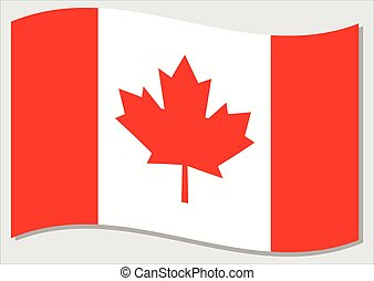 Waving flag of Canada vector graphic. Waving Canadian flag illustration. Canada country flag wavin in the wind is a symbol of freedom and independence.