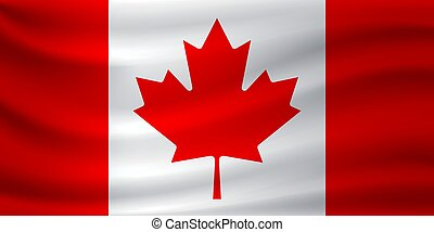 Waving flag of Canada. Vector illustration