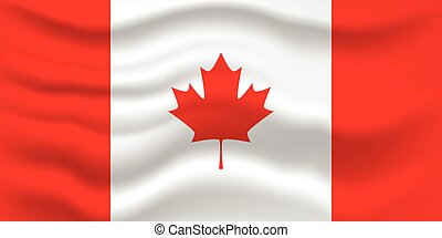 Waving flag of Canada. Vector illustration for your design.