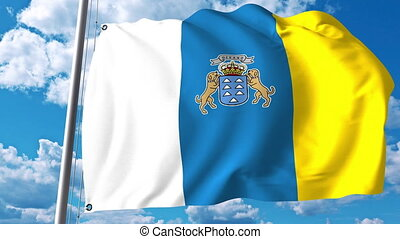 Waving flag of Canary Islands an autonomous community in...