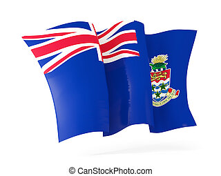 Waving flag of cayman islands. 3D illustration