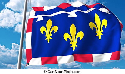 Waving flag of Centre-Val de Loire a region of France -...