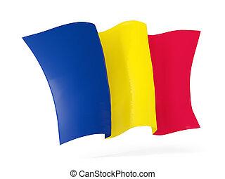 Waving flag of chad. 3D illustration