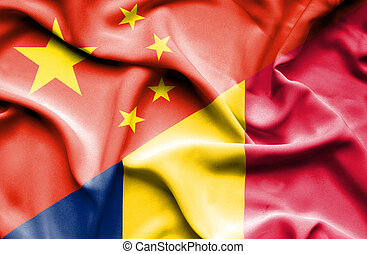 Waving flag of Chad and China