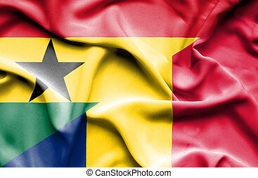 Waving flag of Chad and Ghana