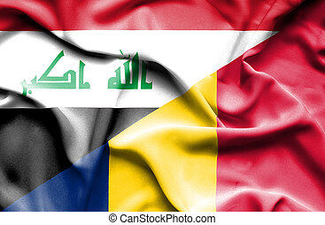 Waving flag of Chad and Iraq
