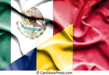 Waving flag of Chad and Mexico